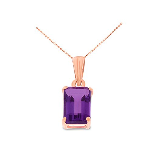- 14K Rose Gold 5 x 7 mm. Emerald Cut Genuine Natural Amethyst Pendant With Square Rolo Chain Necklace