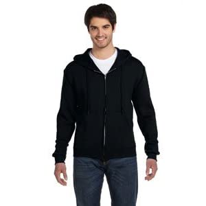 Fruit Of The Loom Mens Hooded Sweatshirt Jacket (XXL) (Black)
