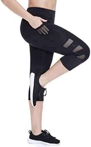 1d4cc6880401f Joyshaper High Waisted Cropped Workout Leggings for Women with Pockets Mesh Capri  Yoga Pants Gym Tights