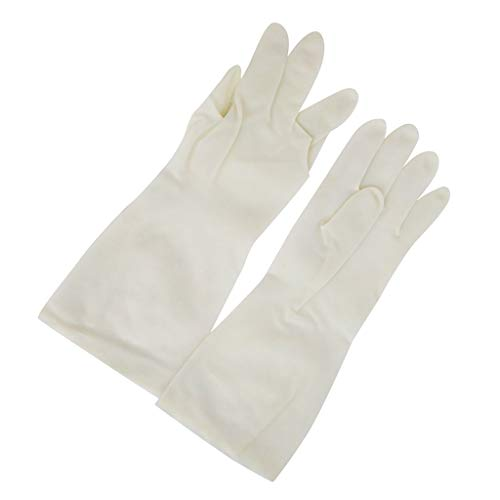 Wllsagl Xouwvpm Rubber Gloves Household Kitchen Garden Cleaning Gloves Home Cleaning Gloves Long Waterproof Non-Disposable Gloves (White S)