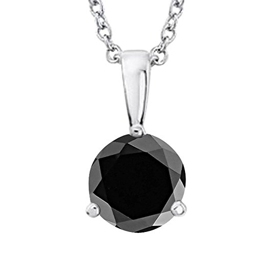 1 2-5 Carat Round Black Diamond 3 Prong Pendant Necklace AAA Quality W 16 Gold Chain