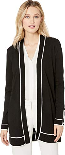 Calvin Cardigan Klein Ribbed (Calvin Klein Women's Cardigan with Rib Detail and Piping Black/White Combo X-Small)