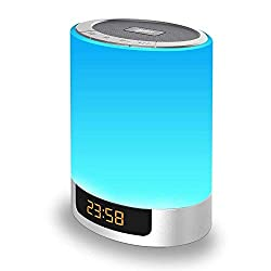Night Lights Bluetooth Speaker, Alarm Clock with Touch Control LED Lamp Bedside Lamp Color Changing Wireless Speaker USB AUX MP3 Music Player Best Gift for Kids,Party,Bedroom,Outdoor