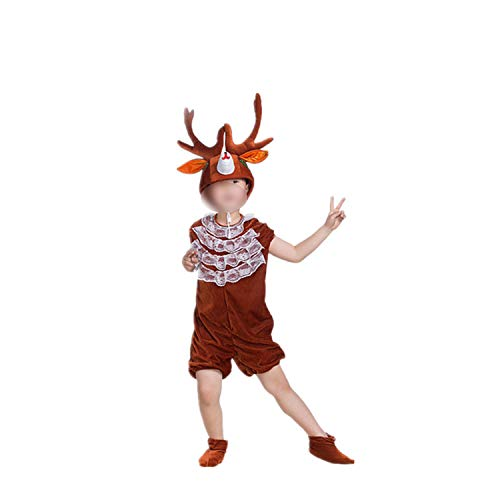 Children's Animal Performance Halloween Cosplay Jumpsuit Costume Long Sleeve,Reindeer Short,170cm ()