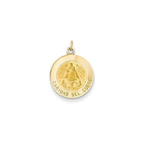- 14k Yellow Gold Caridad Del Cobre Medal Pendant Charm Necklace Religious Fine Jewelry For Women Gift Set