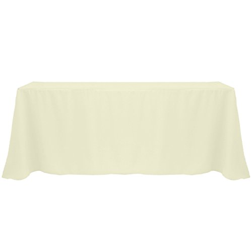 Ultimate Textile (5 Pack) 90 x 132-Inch Rectangular Polyester Linen Tablecloth with Rounded Corners - for Wedding, Restaurant or Banquet use, Oyster (Oyster Table)