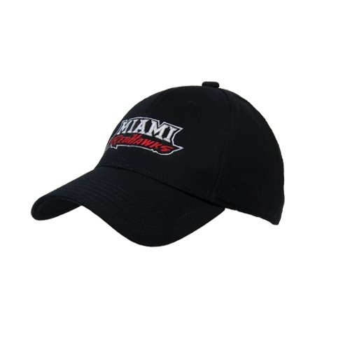 Miami University Black Heavyweight Twill Pro Style Hat 'Miami Redhawks' - Red Hats Heavyweight Hat