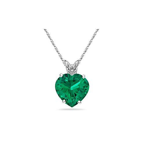 1.75-2.60 Cts of 9 mm AAA Heart Lab Created Emerald Scroll Solitaire Pendant in 14K White ()