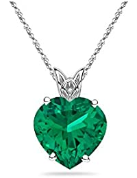 0.65-0.95 Cts of 6 mm AAA Heart Lab Created Emerald Scroll Solitaire Pendant in 14K White Gold