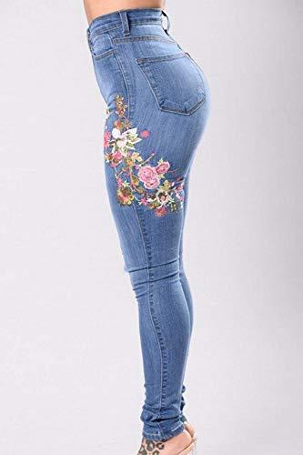 Bordados Lápiz Delanteros Botones Alta Las Bolsillos Vaqueros Mujeres De Mezclilla Cintura Pantalones Estiramiento Battercake Casuales Azul Pitillo w41qAEn