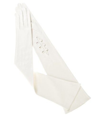 Fratelli Orsini Women's Italian Silk Lined 12-Button Length Bridal Gloves Size 7 1/2 Color White by Fratelli Orsini