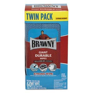 Brawny Giant Durable Disinfecting Wipes, Citrus, 10 1/5 X 8.3, Blue, 60/Pack