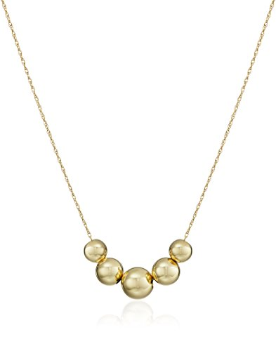 14k Yellow Gold Five-Bead Station Necklace, - Stone Five Gold 14k