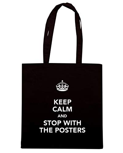 Shopper TKC0850 STOP AND Shirt WITH KEEP Nera POSTERS CALM Borsa Speed THE EnaWI6S8qS