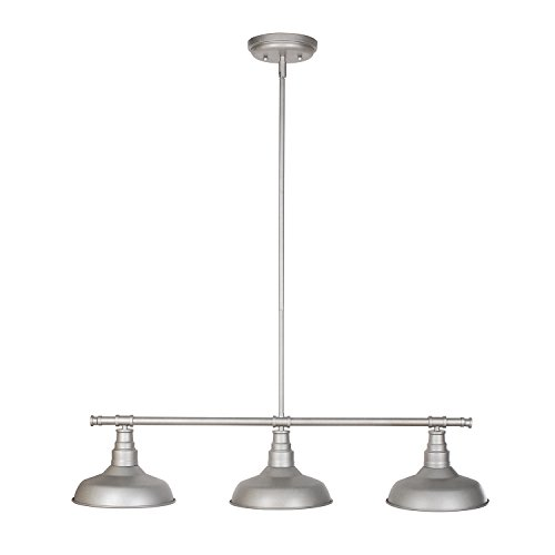 Design House 520379 Kimball 3 Light Pendant, Galvanized Steel Finish Drop Pendant Lighting