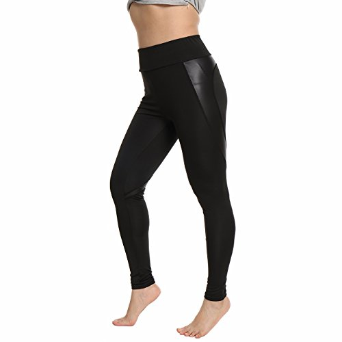 (Women Leather Stretch Sports Scrunch Trousers Athletic Gym Workout Fitness Waist Capris Yoga Pants)
