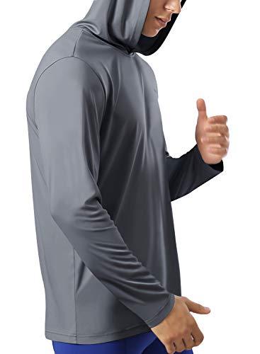HISKYWIN Men's UPF 50+ Sun Protection Hoodie Long Sleeve Performance T-Shirt Athletic Top Rashguards
