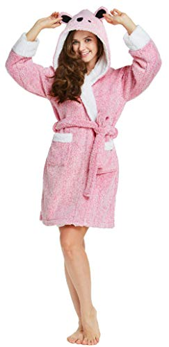 Firecos Womens Animal Hooded Robe - Soft Bath Robe Plush, Fuzzy Critter Koala Robes Women