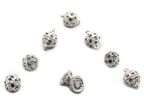 Finov 12mm Rhinestone Crystal Ball DIY Magnetic Clasps, Pack of 8