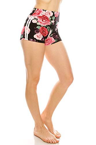 (ALWAYS Women Floral Yoga Shorts - Premium Buttery Soft Stretch Short Pants 1827 L)