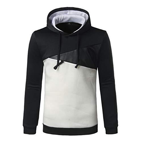 FORUU Men Long Sleeve Hoodie Stitching Color Coat Jacket Outwear Sport Tops BK XXL ()