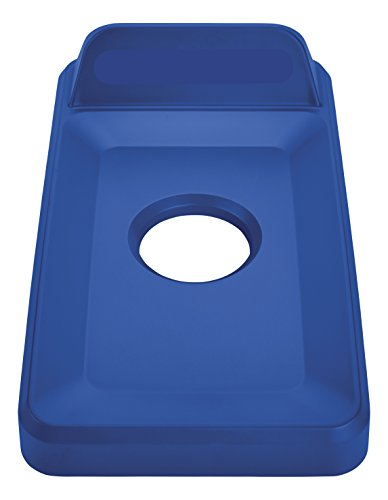 Slim Jim Paper Recycling Container - Rubbermaid Commercial Slim Jim Recycling Lid, Vertical, Bottles/Cans - Blue, 2018258
