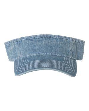 Mega Cap Washed Denim Visor Adjustable Blue