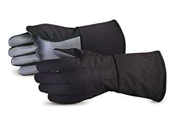 Superior 645CRYO Polyester/Polyurethane Silicone Coated Palm Cryogenic Glove, Cryogenic, Chemical Resistant, Black (Pack of 1 Pair)