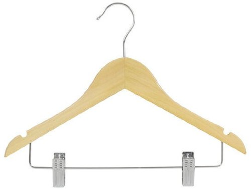 Only Hangers Junior Wood Suit Hangers Natural Finish Box of 25