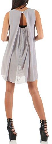 mailto Vestido elegante chifón transparente 6877 Mujer Talla Ùnica gris claro