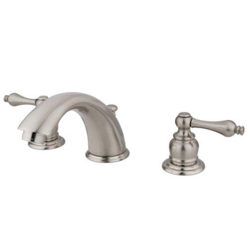 Kingston Brass KB978AL Victorian Widespread Lavatory Faucet with Metal lever handle, Satin Nickel Satin Nickel Adjustable Spread