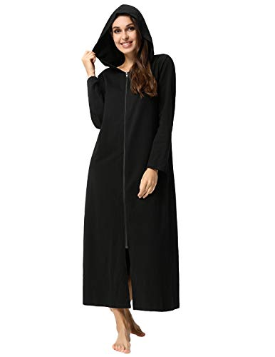 Robes for Women with Zipper Front Casual Cotton House Coat for Fall Black M