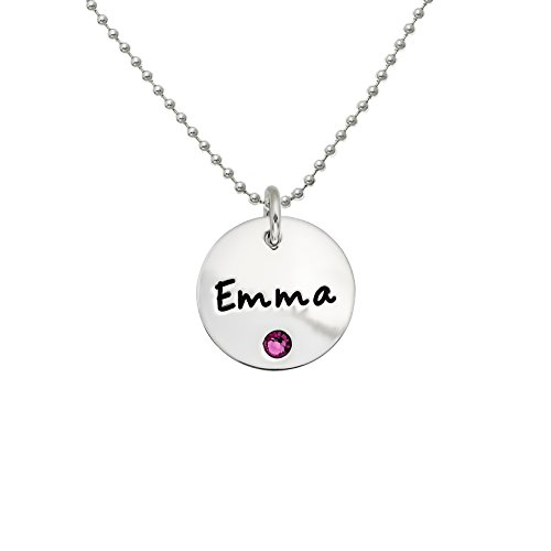 AJ's Collection Personalized Sterling Silver Round Name Charm Necklace with Choice of Swarovski Birthstone Setting.