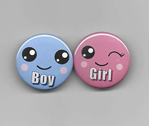 Boy Girl Pastel Emoji Smiley Gender Reveal,Baby Shower Party Favor, Pin Back Buttons, Round, Pinback, 1-1/2