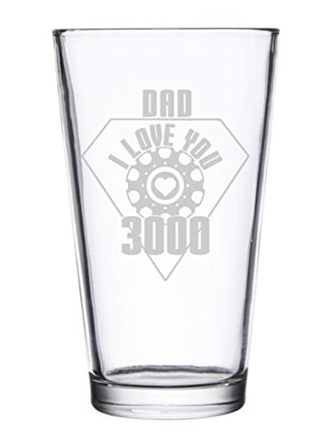 Dad I Love You 3000 Metal Heart Reactor Film Parody Father's Day - Laser Engraved Pint Glasses for Beer, 16 oz Stein