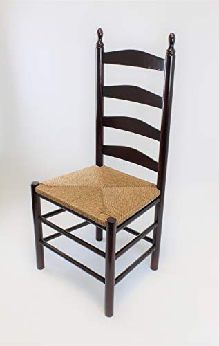 Dixie Seating Calabash Wood Ladderback Dining Chair No. 4W Walnut (Back With Ladder Seats Rush Chairs)