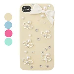 Procesamiento de dos días -DIY de la perla del Bowknot del ornamento plástico de nuevo caso para el iPhone 4/4S (colores surtidos),Beige