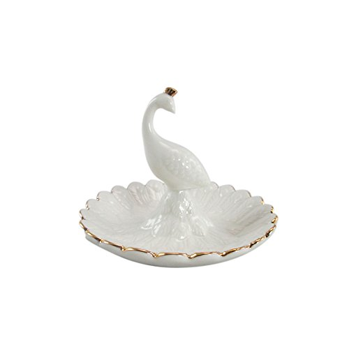 White Gold Peacock Ceramic Holder product image