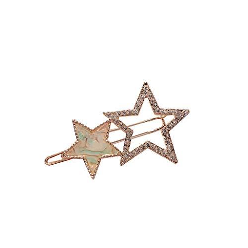 (DealinM  Women's Hairpin,Women's Cute Princess Pentagram Star Colorful Hairpin Jewelry Gift for Girlfriend)