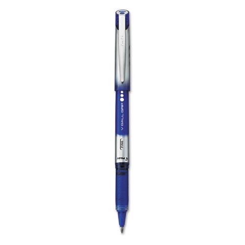 Vball Roller Ball Grip Pen - Pilot VBall Grip Roller Ball Stick Pen; Liquid Ink; Blue Ink; Fine, Dozen