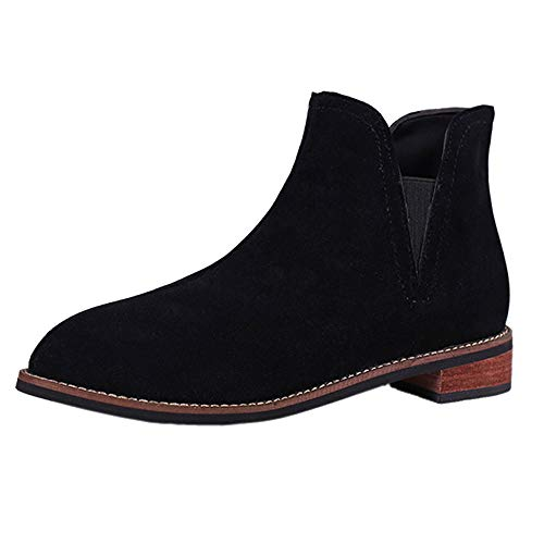 Elasticated Office Solid Chunky On Roman School Low Lined Block Mid Ankle Pull Elastic Ladies Flat Boots Martin Round Womens New Riding Bikers Toe Leather Work Cuff Chelsea Casual Suede Black Boots ZCSwYqF