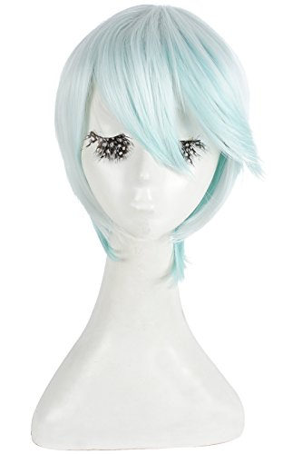 Nuoqi Anime Mikleo Cosplay Unisex Short Straight Mint Green Gradient Hairs Cosplay Wig