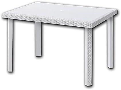 Tavolo In Rattan Bianco.Tavolo Rettangolare 80x120 Cm Con Inserti In Rattan Bianco Mod