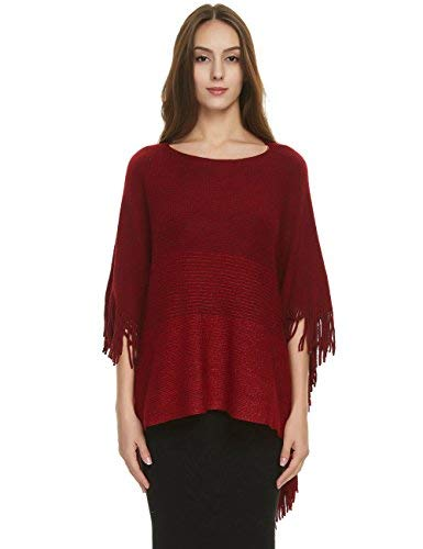 Ferand Women's Constrast Striped Poncho Batwing Sleeve Sweater Tops with Fringes, One Size, Red