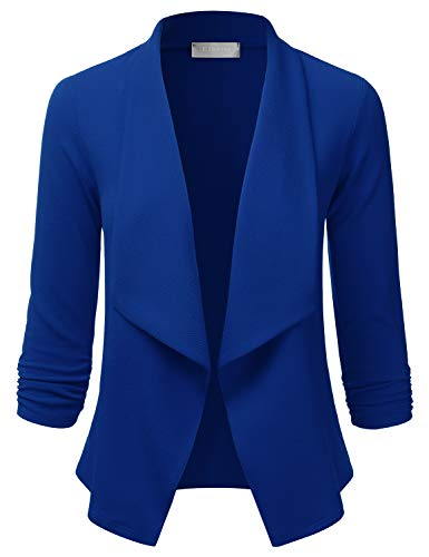 EIMIN Women's Lightweight Stretch 3/4 Sleeve Blazer Open Front Jacket RoyalBlue M