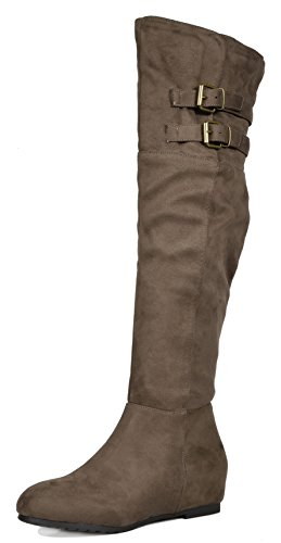DREAM PAIRS Women's Newtown Khaki Over The Knee Thigh High Winter Boots Size 8 M US