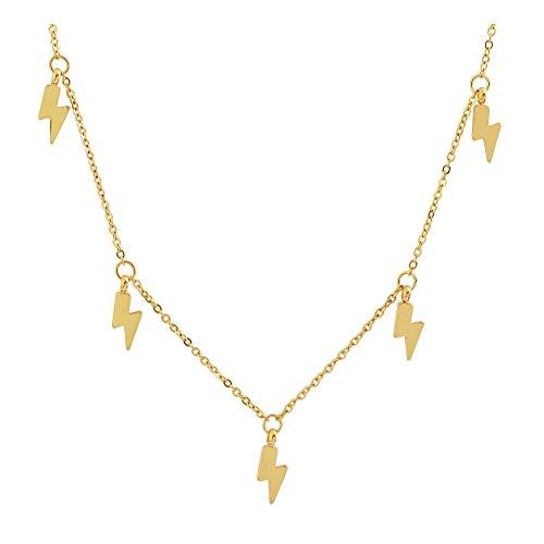 Edforce 18k Gold Plated Lightning Bolt Pendant Necklace, 15