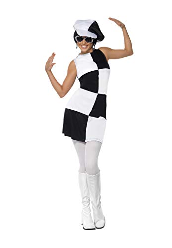 Smiffys Women's 1960's Party Girl Costume, Dress and Hat, 60's Groovy Baby, Serious Fun, Size 10-12, 21142