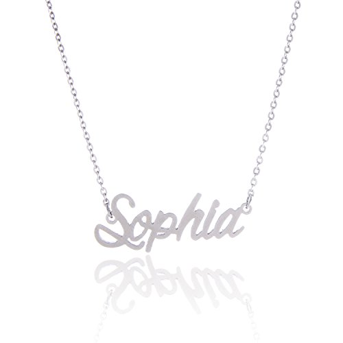 AOLO Stainless Steel Beautiful Sophia Girl's Name Necklace, -