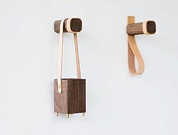 anaan Belt Diseño Percheros de Pared Perchero para Abrigos Gancho de Pared de Madera Maciza con Cuero Decorativos para Pared (2, con Mango de Cuero)